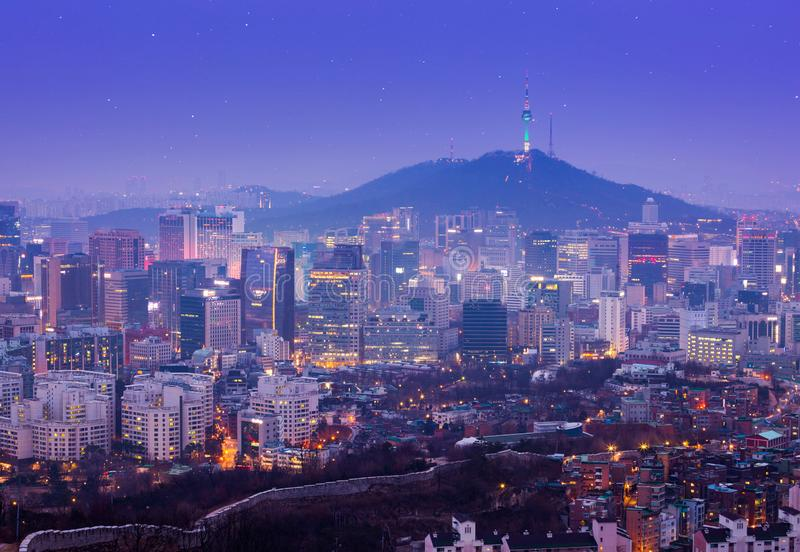 Beautiful city of lights at night. Seoul tower and skyscrapers of Seoul, South Korea royalty free stock photo