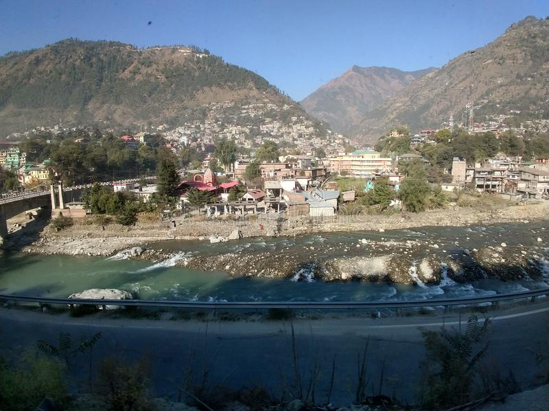 Wide angle view of Manali, India. The beautiful city of Manali in India royalty free stock photo