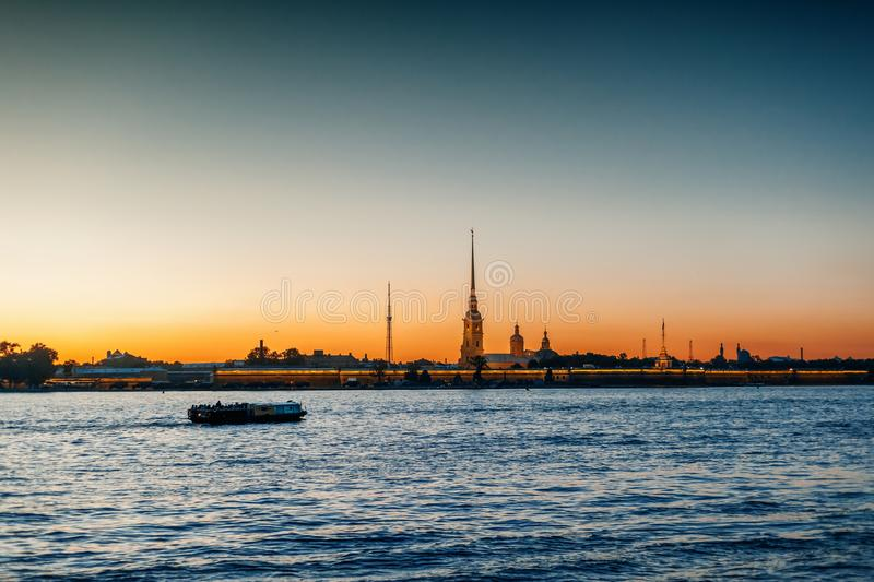 Beautiful city night landscape, white nights in St. Petersburg, royalty free stock photos