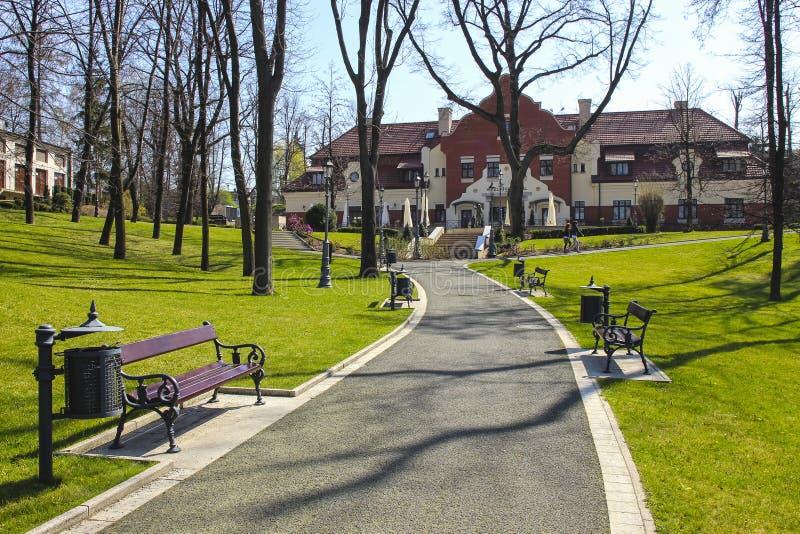 Beautiful city park by the Salt Mine, Wieliczka, Poland. Tourists destination royalty free stock images