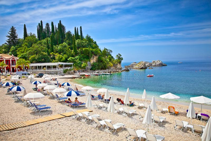 Beautiful sand beach on Ionian Sea in Parga, Greece. Beautiful city sand beach on Ionian Sea in Parga, Greece royalty free stock photography
