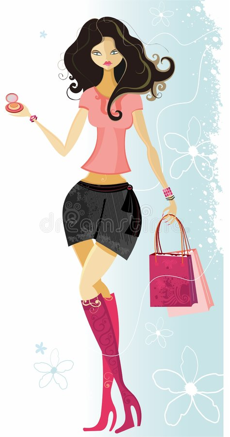Beautiful city shopper girl royalty free stock photos