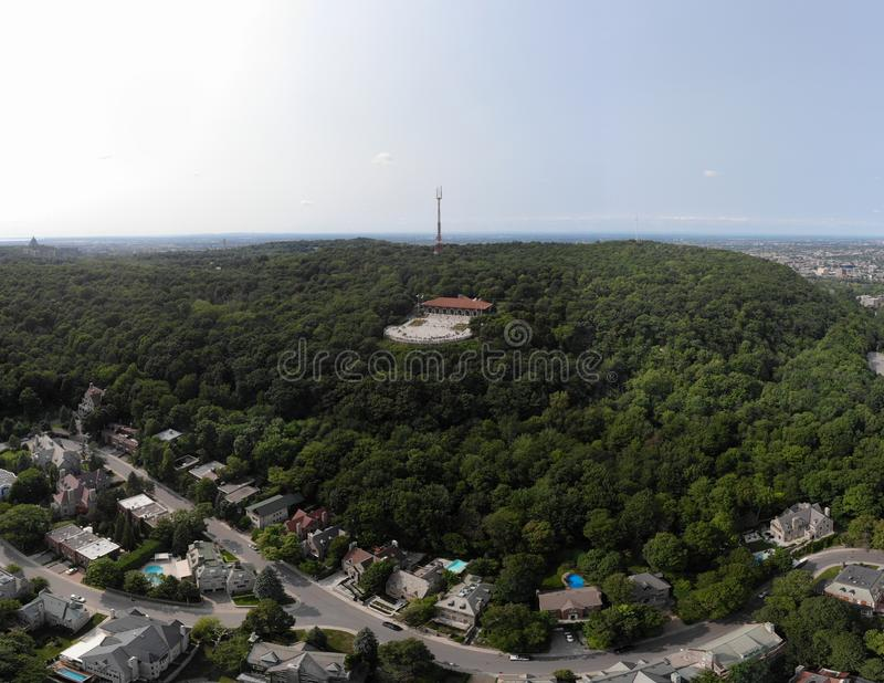 Montreal city drone aerial view in summer park Mount Royal stock image