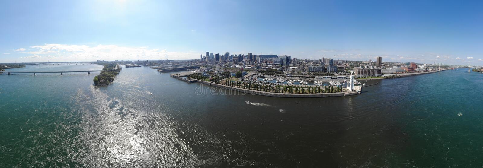Aerial view 360 panorama Montreal port, bridge Concorde and bridge Jacques Cartier stock photo