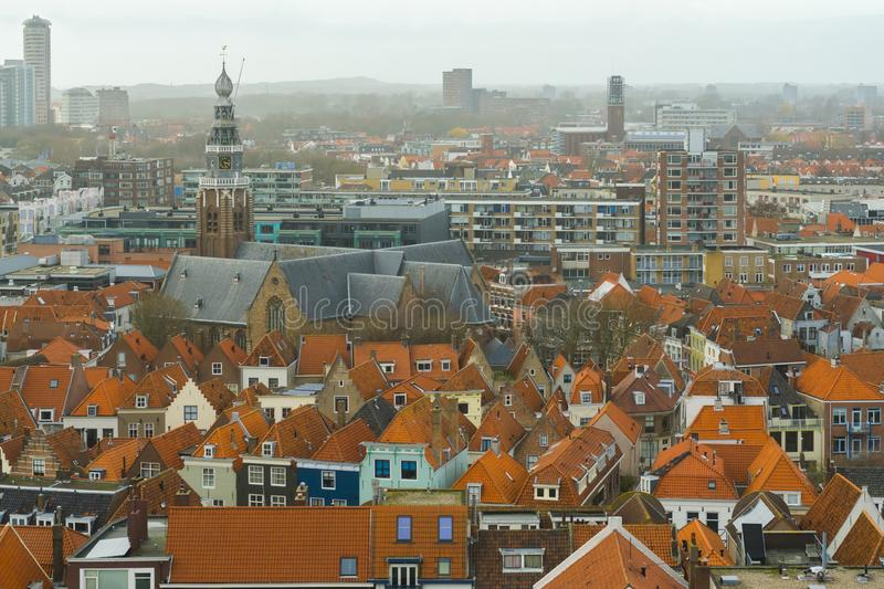 Beautiful city skyline of Vlissingen with the church tower and many dutch houses, popular city at sea in Zeeland, the Netherlands. A beautiful city skyline of royalty free stock photos