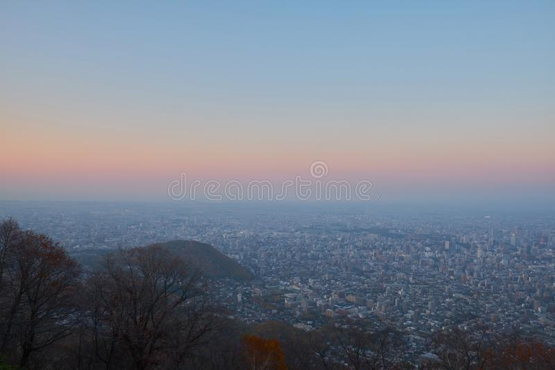 The beautiful city view point before sunset and the famous place at Mt. Moiwa in Sapporo, Hokkaido royalty free stock image