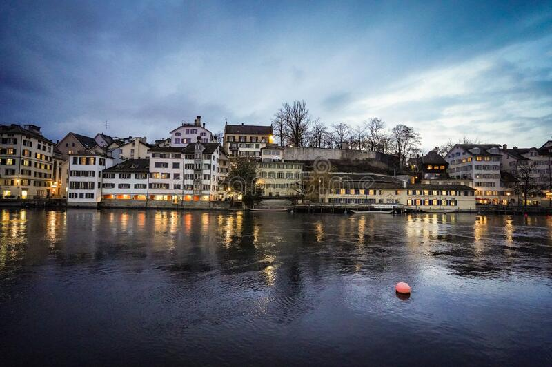 The beautiful city of Zurich at night stock photo