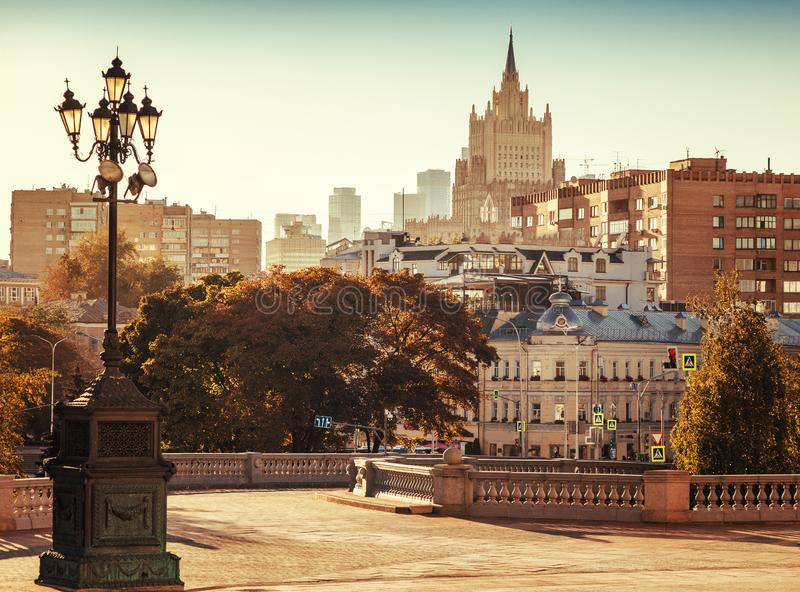 Beautiful cityscape, the capital of Russia, Moscow, the city center in the autumn season before sunset royalty free stock photos