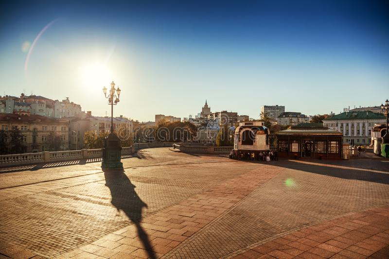 Beautiful cityscape, the capital of Russia, Moscow, the city center in the autumn season before sunset stock photography