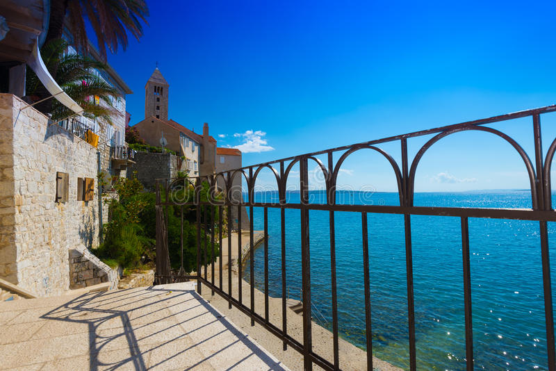 Beautiful cityscape of Croatia. The city of Rab royalty free stock photography