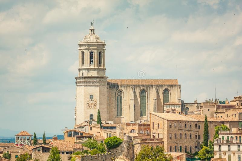 Stately Cathedral in Girona, Catalunya. Spain stock photography