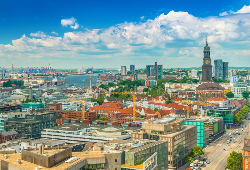 Beautiful cityscape of Hamburg from above, Germany.  stock images