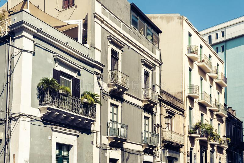 Beautiful cityscape of Italy, facade of ancient house in sicilian baroque style on historical street of Catania, Sicily.  stock image