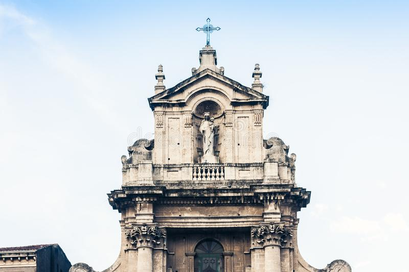 Beautiful cityscape of Italy, facade of old cathedral Catania, Sicily, Italy, Basilica della Collegiata, famouse baroque church.  royalty free stock image