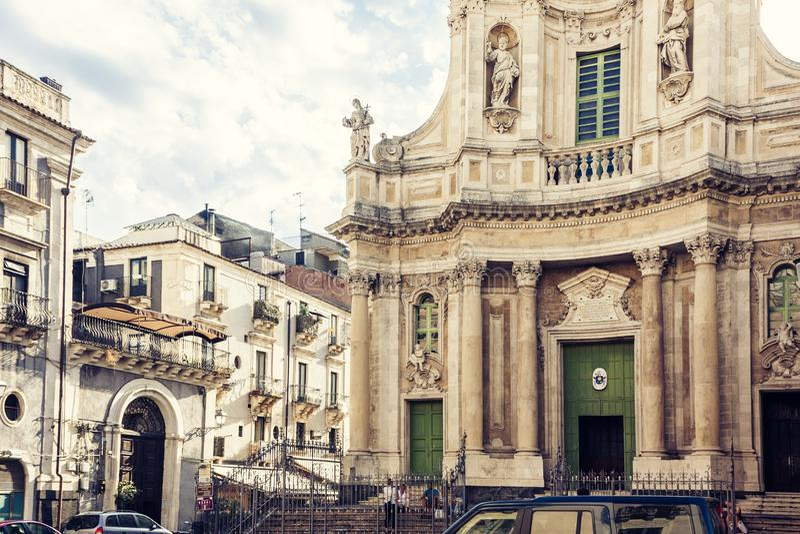 Beautiful cityscape of Italy, facade of old cathedral Catania, Sicily, Italy, Basilica della Collegiata, famouse baroque church stock photo