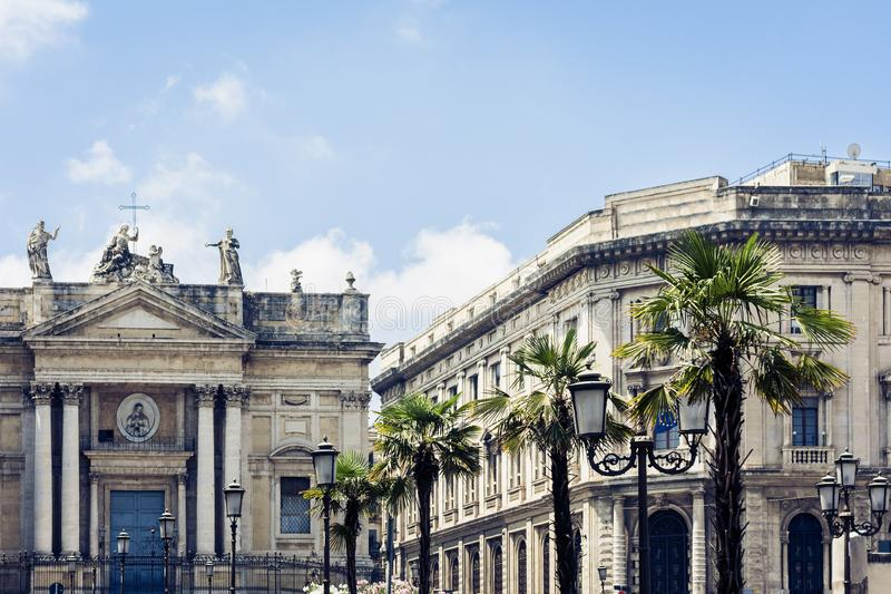 Beautiful cityscape of Italy, historical square of Catania, Sicily, facade of old cathedral.  stock images