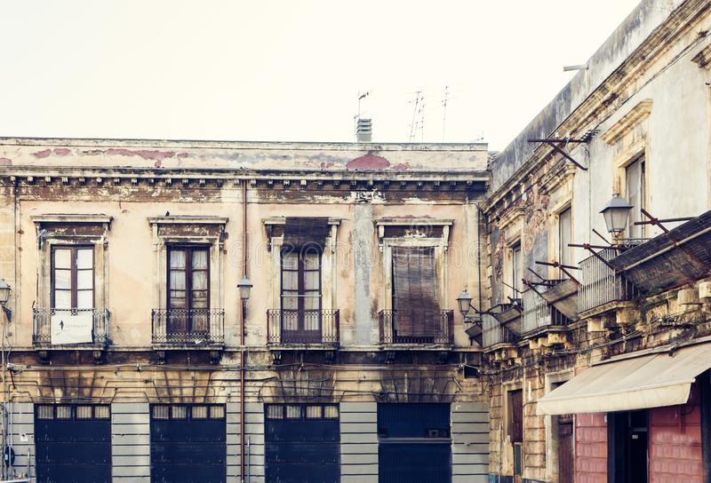 Beautiful cityscape of Italy, historical street of Catania, Sicily, facade of old building.  stock image