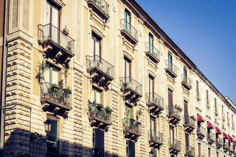 Beautiful cityscape of Italy, historical street of Catania, Sicily, facade of old building.  stock images