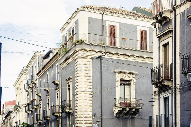 Beautiful cityscape of Italy, historical street of Catania, Sicily, facade of old building.  royalty free stock photo