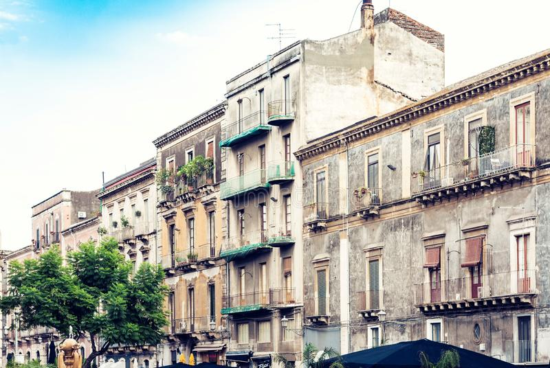 Beautiful cityscape of Italy, historical street of Catania, Sicily, facade of old buildings.  stock photography