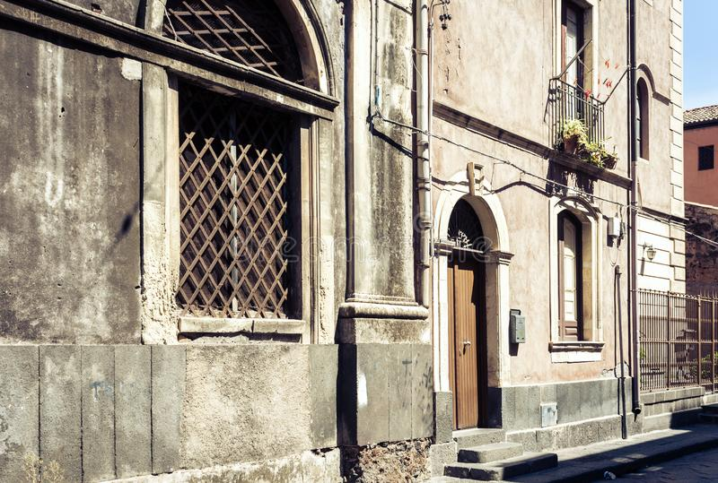 Beautiful cityscape of Italy, historical street of Catania, Sicily, facade of old buildings.  royalty free stock photos