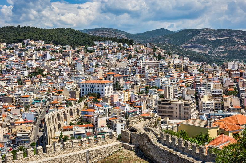 Beautiful cityscape of Kavala town and old aqueduct. Beautiful cityscape of Kavala, view from the castle. Kavala is a coastal city in Northern Greece, which has stock images