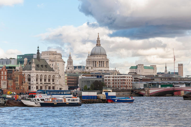Beautiful cityscape of London. With River Thames and St Paul Cathedral royalty free stock photos