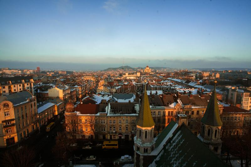 Beautiful cityscape of Lviv in Ukraine at sunset from above royalty free stock image