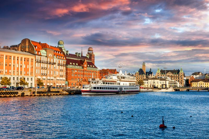 Beautiful cityscape, Malmo Sweden, canal. At sunset royalty free stock photography