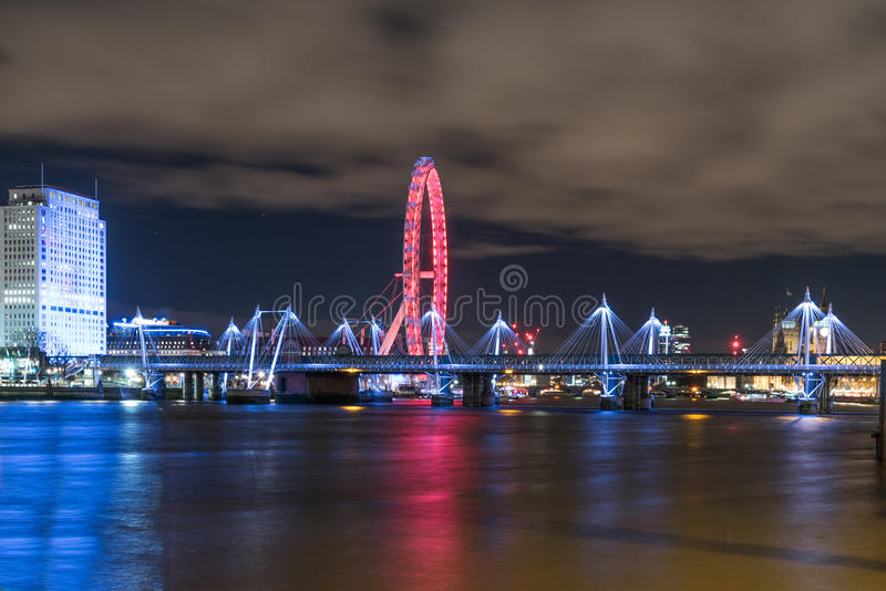 Beautiful cityscape. At night in London with a view of London eye stock images