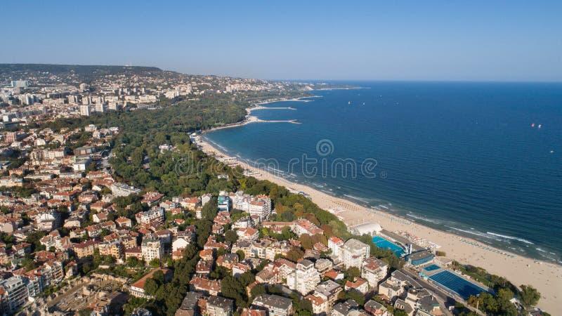 Beautiful cityscape over Varna city, Bulgaria. Panoramic aerial view royalty free stock photos