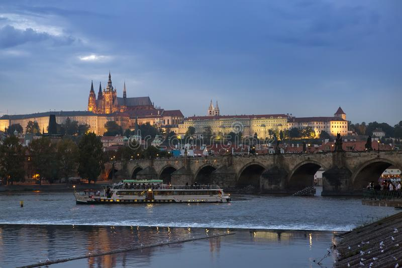 Beautiful Cityscape of Prague with Charles BridgeKarluv Most over Vltava river and Prague Castle, Czech Republic stock photography
