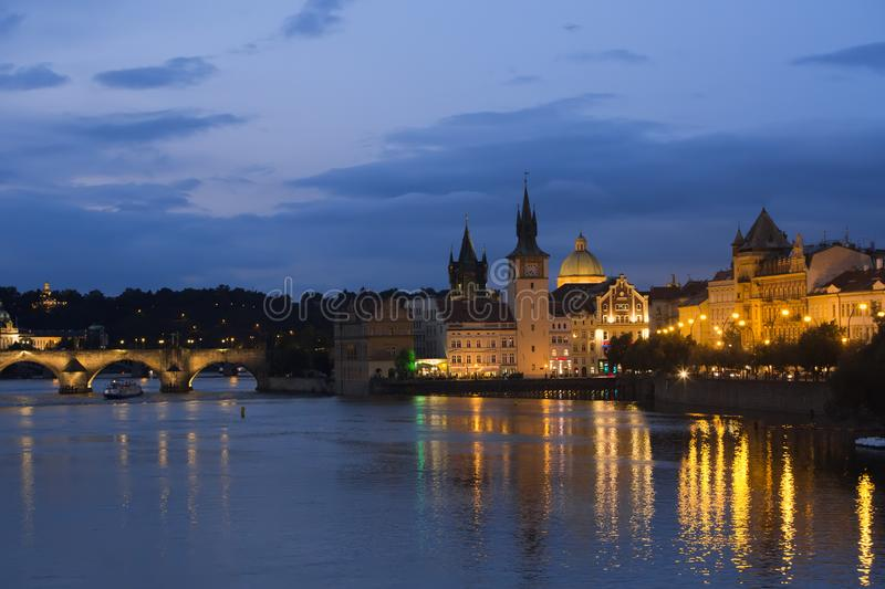 Beautiful Cityscape of Prague at night with Charles BridgeKarluv Most over Vltava river stock photography