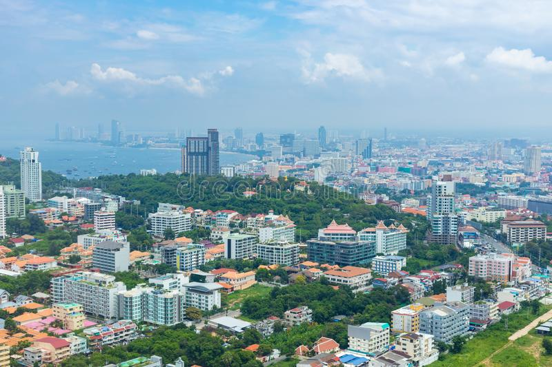 Beautiful cityscape skyline of Pattaya in Thailand from the view point. Aerial view of Pattaya city stock photography