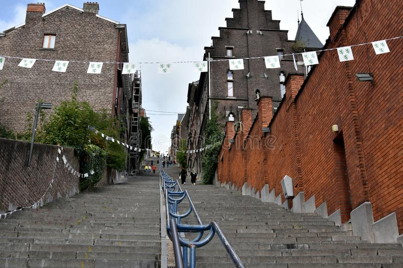 Montagne de Bueren, the most famous stairs in Liege stock images