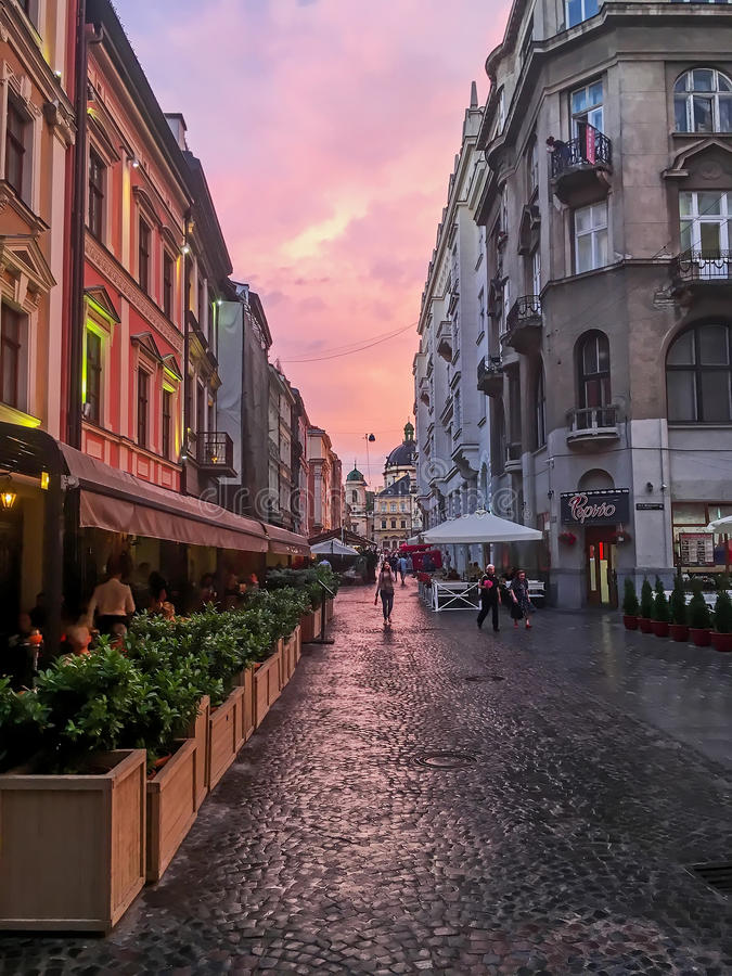 Beautiful cityscape - A street in the center of Lviv at sunset royalty free stock photo