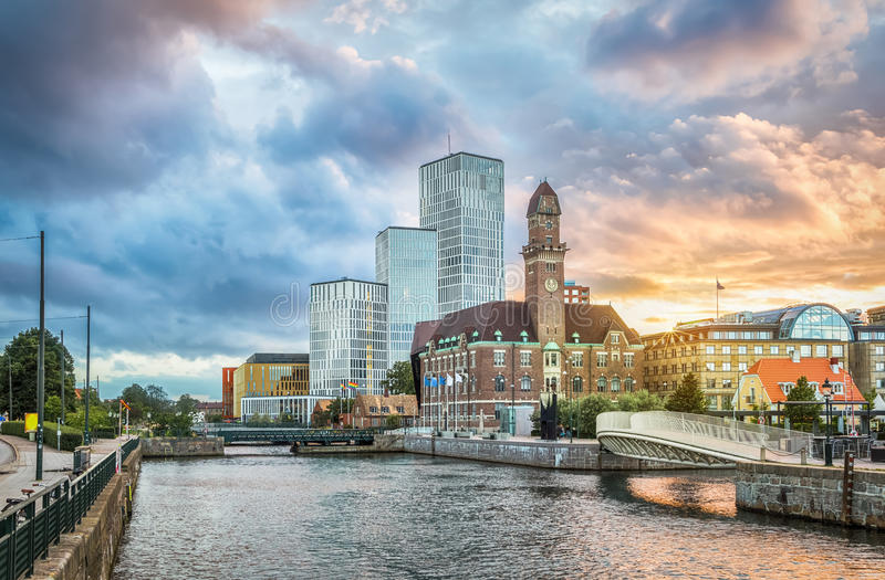 Beautiful cityscape with sunset in Malmo, Sweden. Beautiful cityscape with sunset over canal and skyline in Malmo, Sweden stock photos