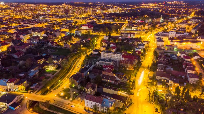 Beautiful cityscape of Tarnow in Poland, aerial view. At twilight blue building life colorful downtown drone dusk europe evening above historic illuminated royalty free stock photos
