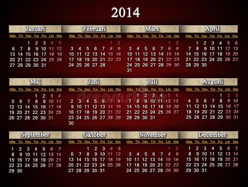Beautiful Claret Calendar For 2014 Year In Swedish Royalty Free Stock Photo