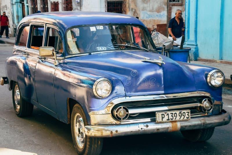 A beautiful classic car in Havana city, Cuba. A beautiful classic blue car in Havana city, Cuba stock images