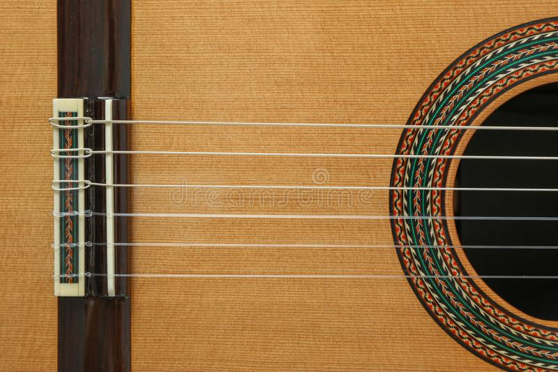 Beautiful classic guitar body as background stock photography