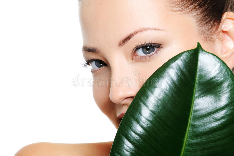Beautiful clean woman's face behind the leaf. Pretty beautiful woman's face behind the large green leaf stock images