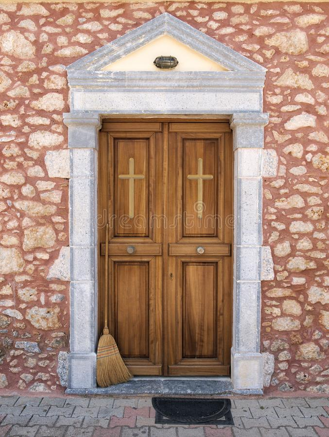 Beautiful clean wooden church entrance stock image