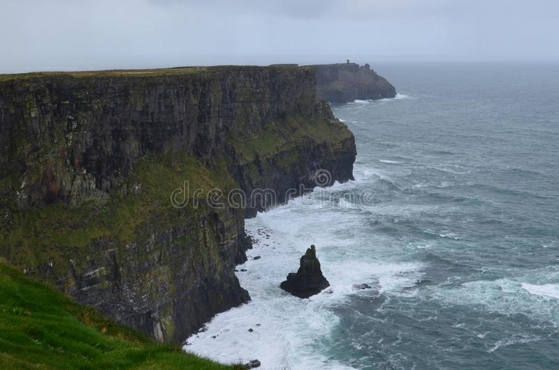 Beautiful Cliffs of Moher in Ireland with a cloudy sky. Beautiful Cliffs of Moher and Galway bay off the shores of Ireland stock photos