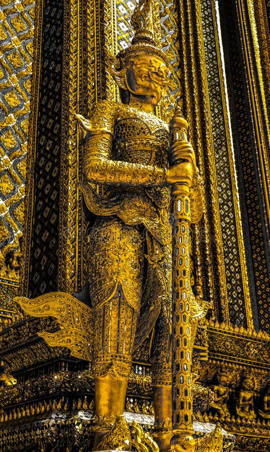 Beautiful close up color black white and gold Wat Phra Kaew or Temple of Emerald Buddha, Guardian statues pagoda and Grand palac stock photos
