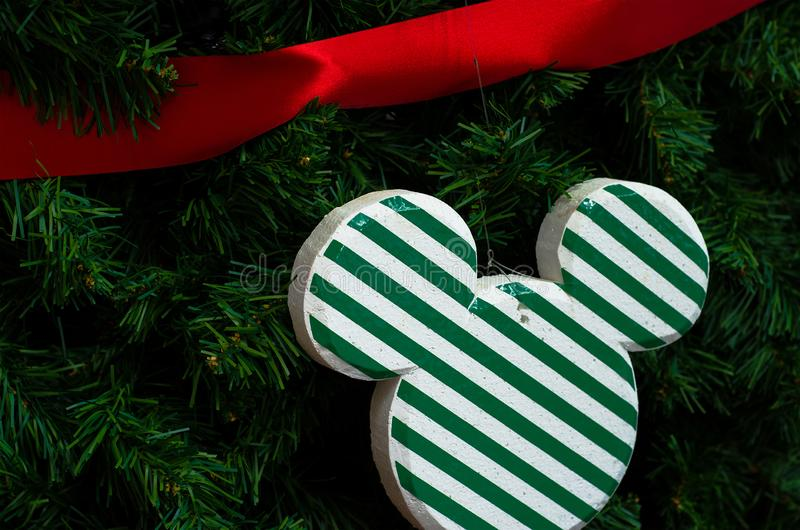Beautiful of close up decoration in christmas tree branches background. stock photos