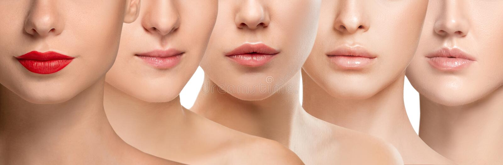 Beautiful female face, concept of skincare and lifting. Beautiful close up faces on white background. Concept of filler injection, cosmetics, skincare and royalty free stock photos