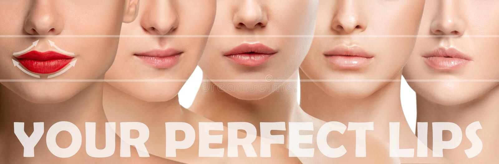Beautiful female face, concept of skincare and lifting. Perfect lips. Beautiful close up faces on white background. Concept of filler injection, cosmetics stock image