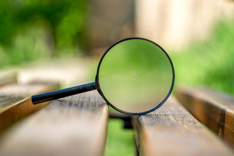 Beautiful close up on a magnifying glass royalty free stock images