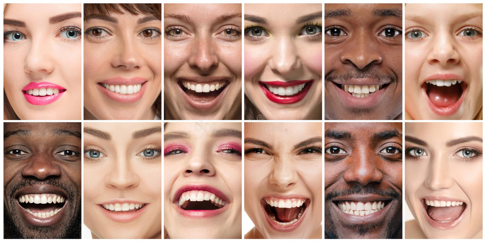 Beautiful close up portraits, concept of teeth treatment stock photo